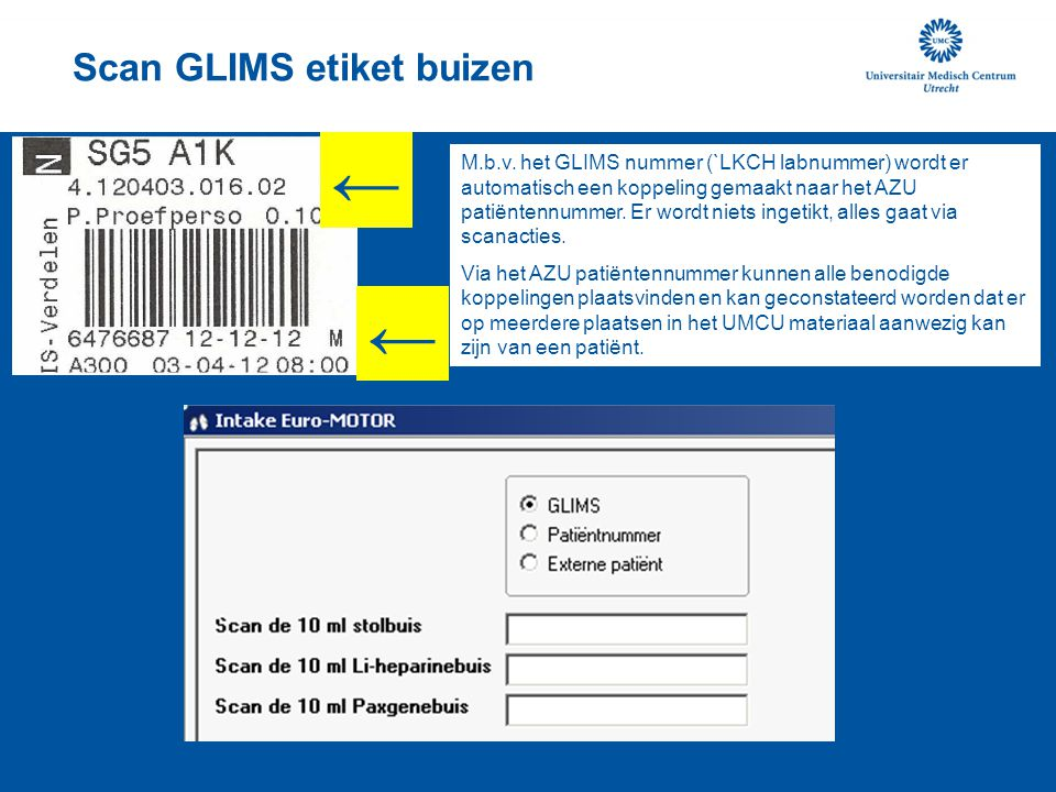 Scan GLIMS etiket buizen