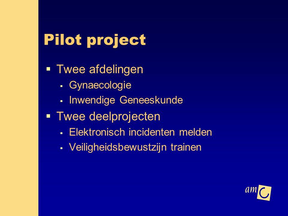 Pilot project Twee afdelingen Twee deelprojecten Gynaecologie