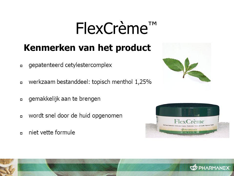 FlexCrème™ Kenmerken van het product gepatenteerd cetylestercomplex