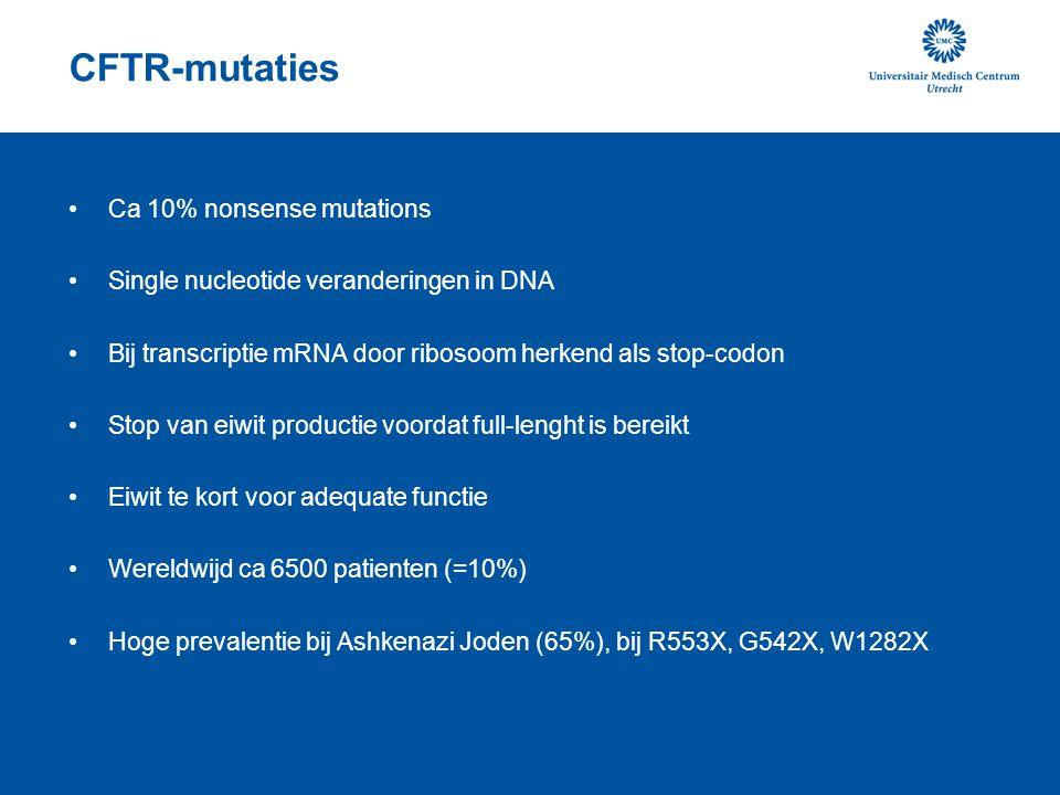 CFTR-mutaties Ca 10% nonsense mutations
