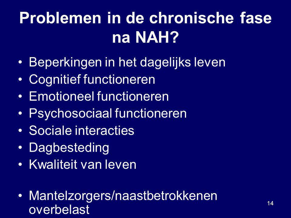 Problemen in de chronische fase na NAH