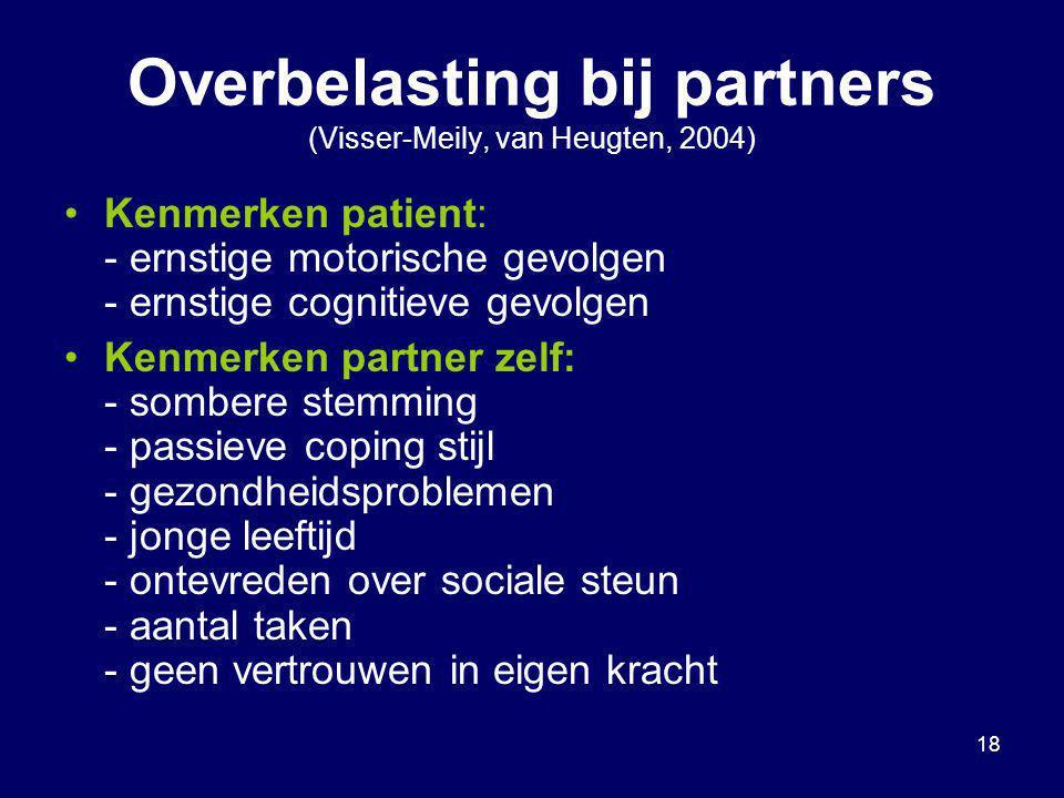 Overbelasting bij partners (Visser-Meily, van Heugten, 2004)