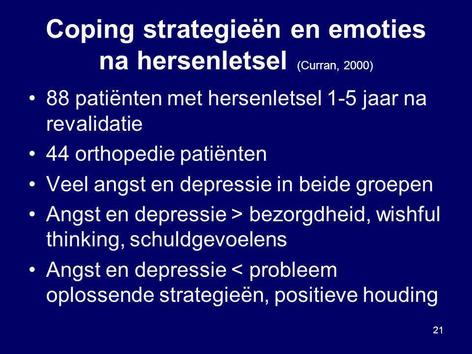 Coping strategieën en emoties na hersenletsel (Curran, 2000)