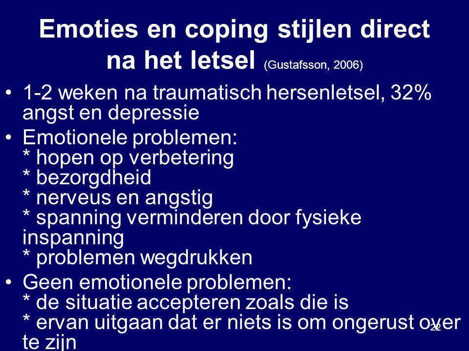 Emoties en coping stijlen direct na het letsel (Gustafsson, 2006)