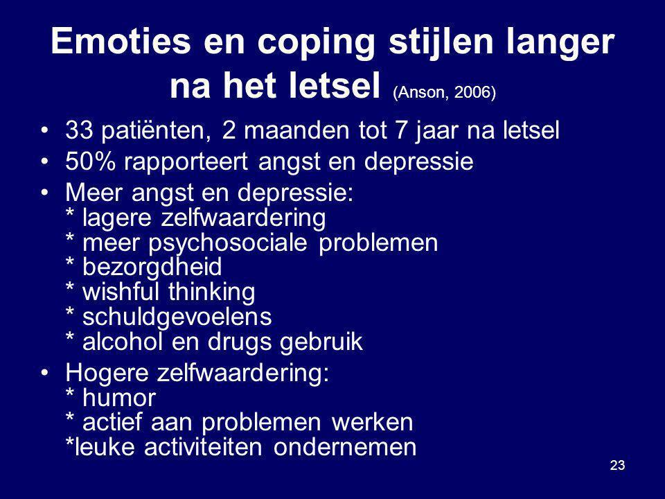 Emoties en coping stijlen langer na het letsel (Anson, 2006)