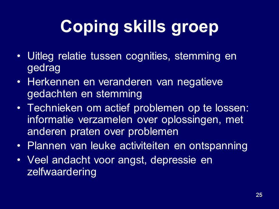 Coping skills groep Uitleg relatie tussen cognities, stemming en gedrag. Herkennen en veranderen van negatieve gedachten en stemming.