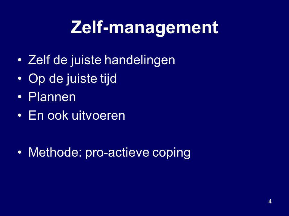 Zelf-management Zelf de juiste handelingen Op de juiste tijd Plannen
