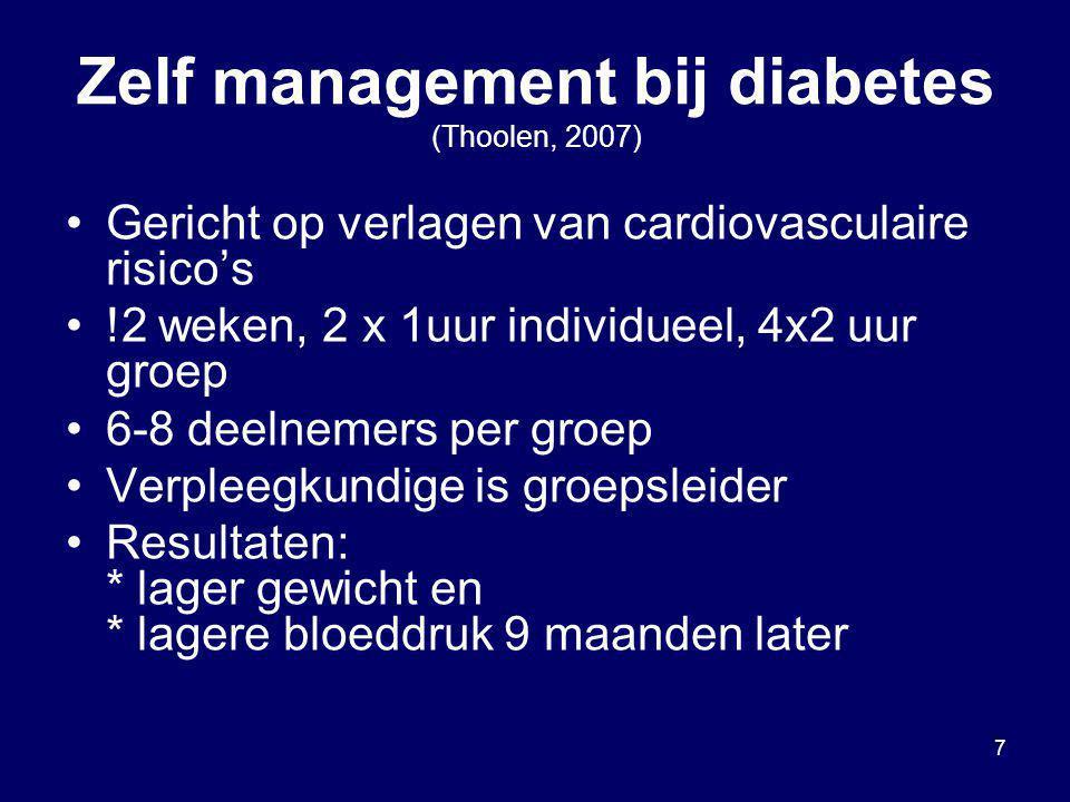 Zelf management bij diabetes (Thoolen, 2007)