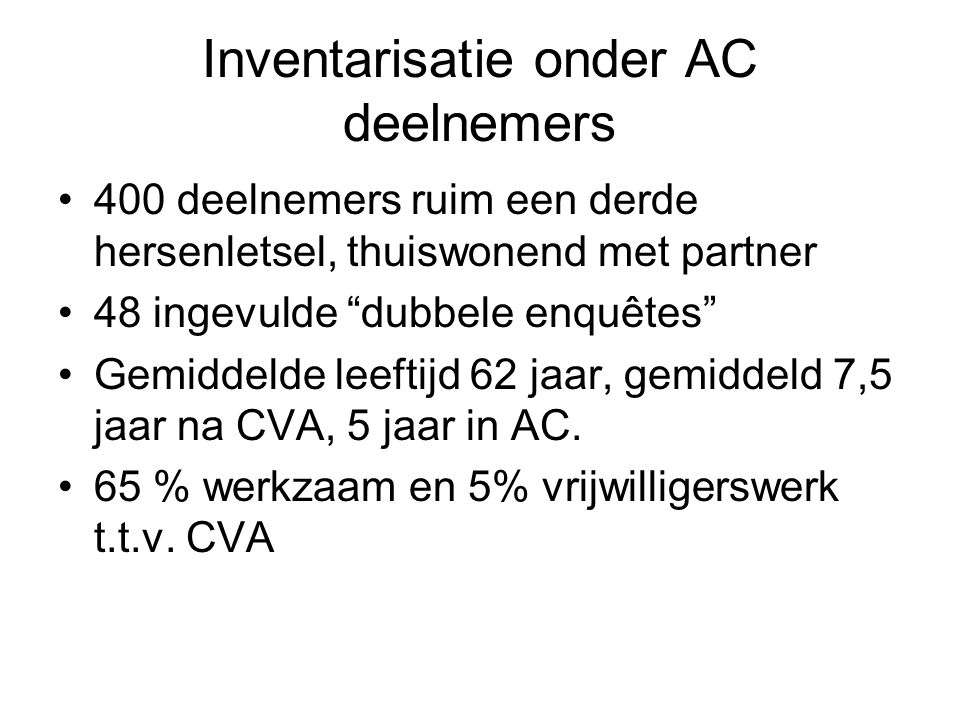 Inventarisatie onder AC deelnemers