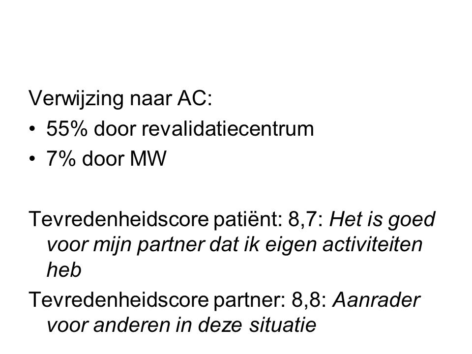 Verwijzing naar AC: 55% door revalidatiecentrum. 7% door MW.