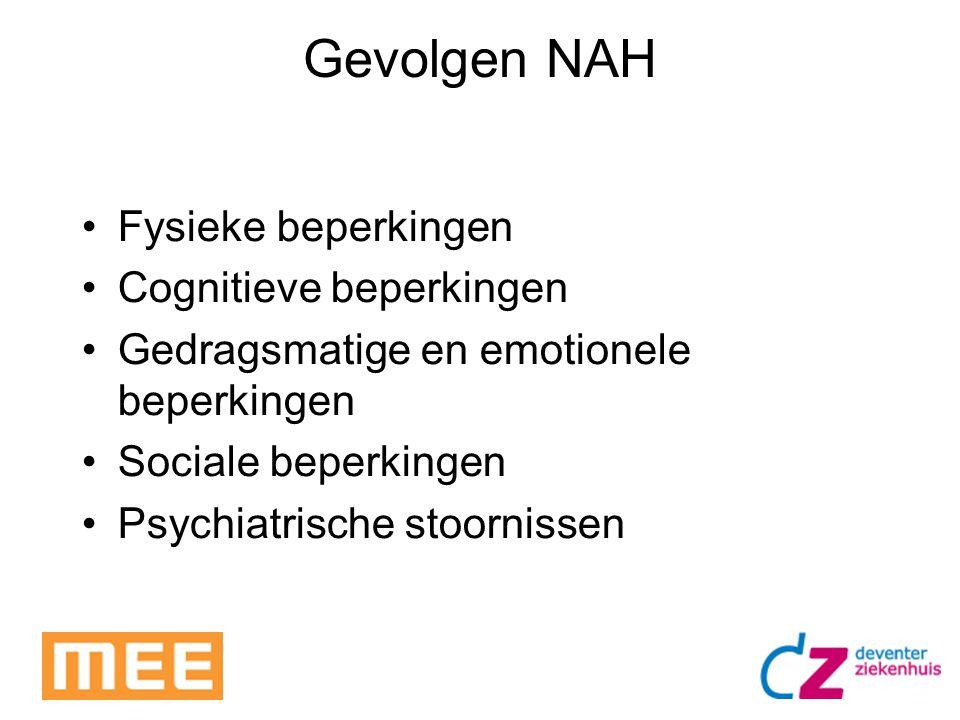 Gevolgen NAH Fysieke beperkingen Cognitieve beperkingen