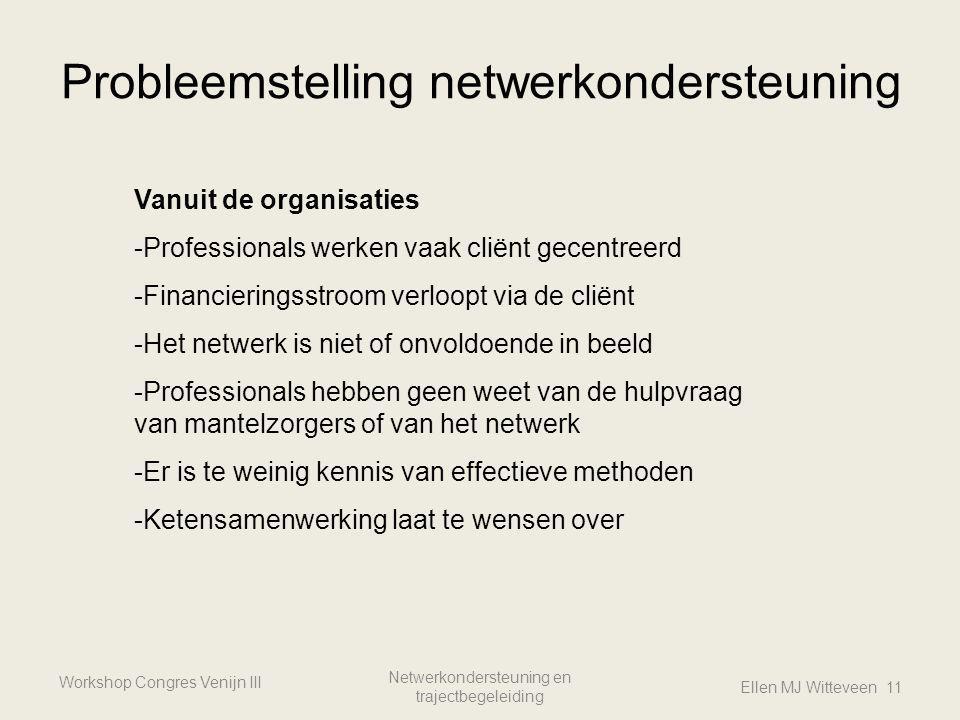 Probleemstelling netwerkondersteuning