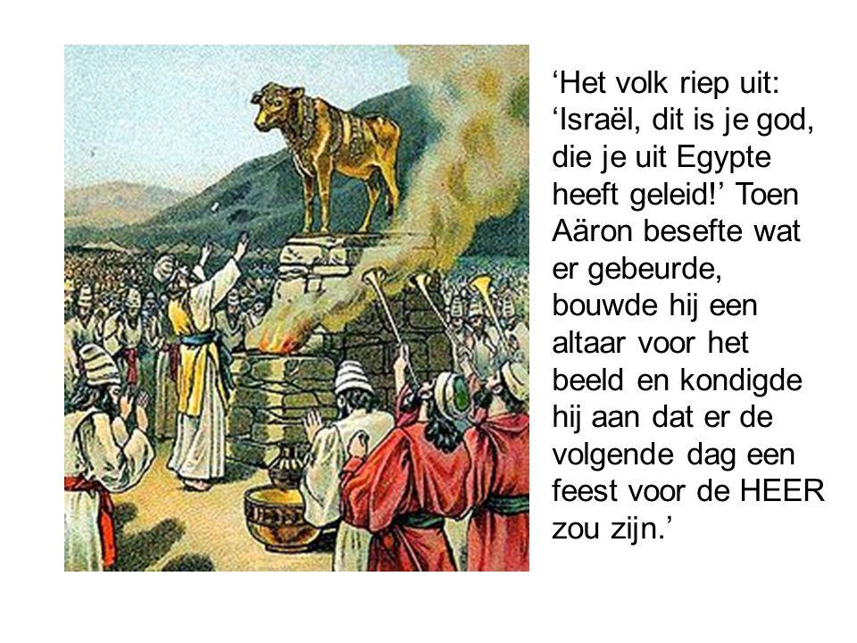 'Het volk riep uit: 'Israël, dit is je god, die je uit Egypte heeft geleid!' Toen Aäron besefte wat er gebeurde, bouwde hij een altaar voor het beeld en kondigde hij aan dat er de volgende dag een feest voor de HEER zou zijn.'