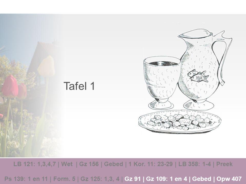 Tafel 1 LB 121: 1,3,4,7 | Wet | Gz 156 | Gebed | 1 Kor. 11: 23-29 | LB 358: 1-4 | Preek.