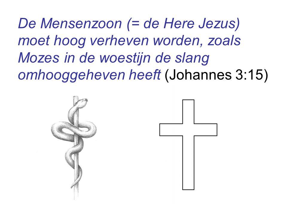 De Mensenzoon (= de Here Jezus) moet hoog verheven worden, zoals Mozes in de woestijn de slang omhooggeheven heeft (Johannes 3:15)