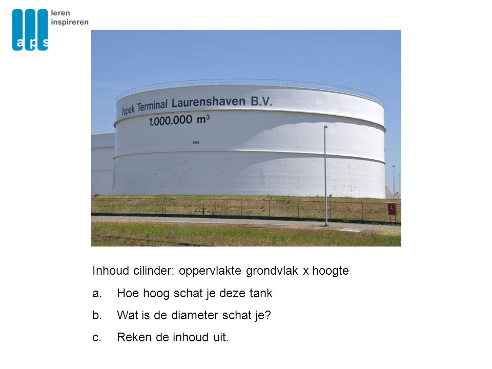 Inhoud cilinder: oppervlakte grondvlak x hoogte
