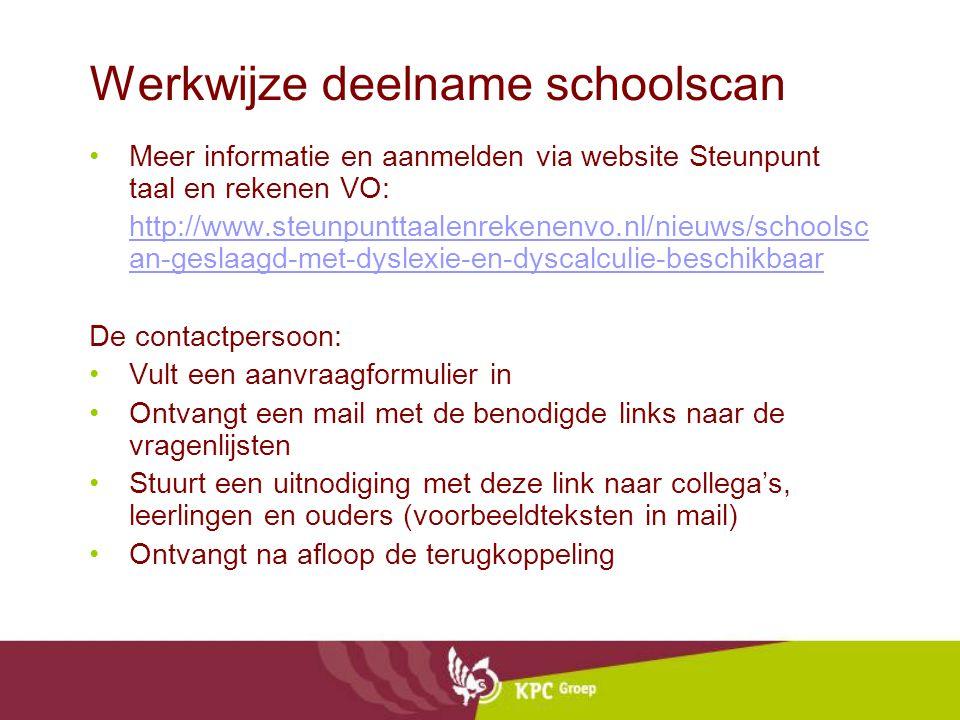 Werkwijze deelname schoolscan