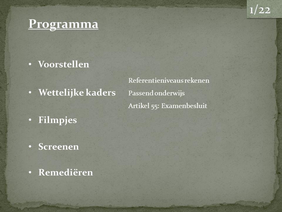 1/22 Programma Voorstellen Wettelijke kaders Filmpjes Screenen