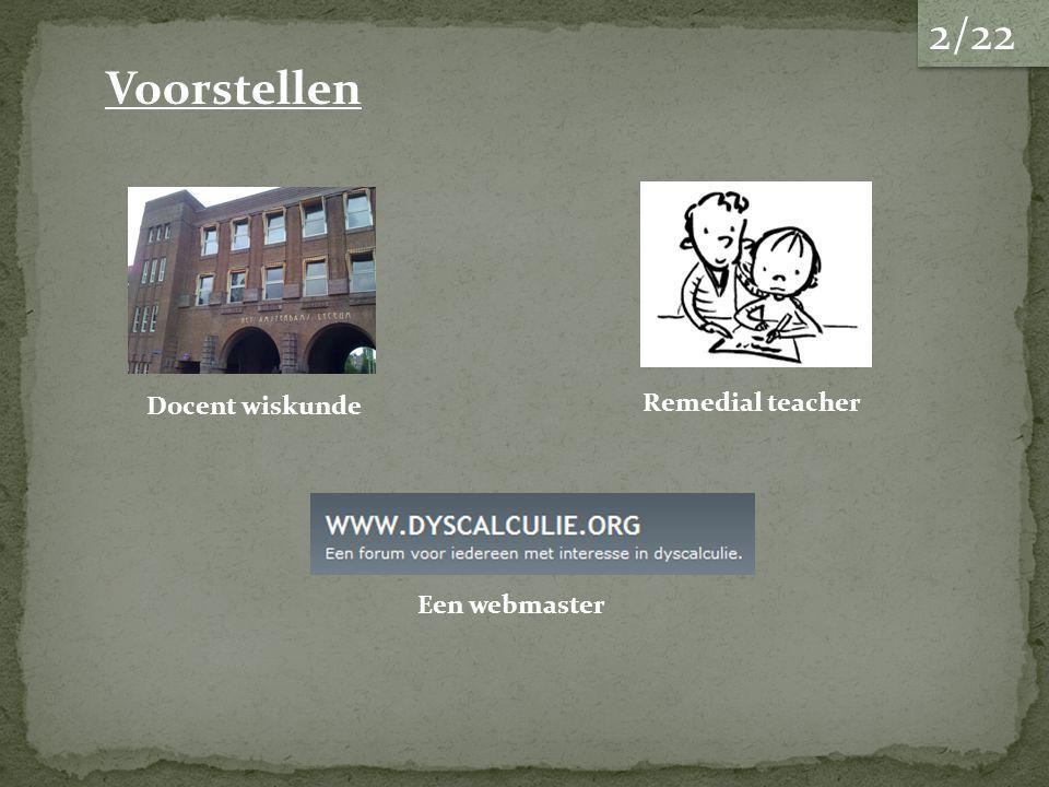 2/22 Voorstellen Docent wiskunde Remedial teacher Een webmaster