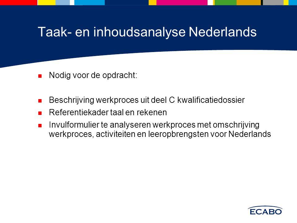 Taak- en inhoudsanalyse Nederlands