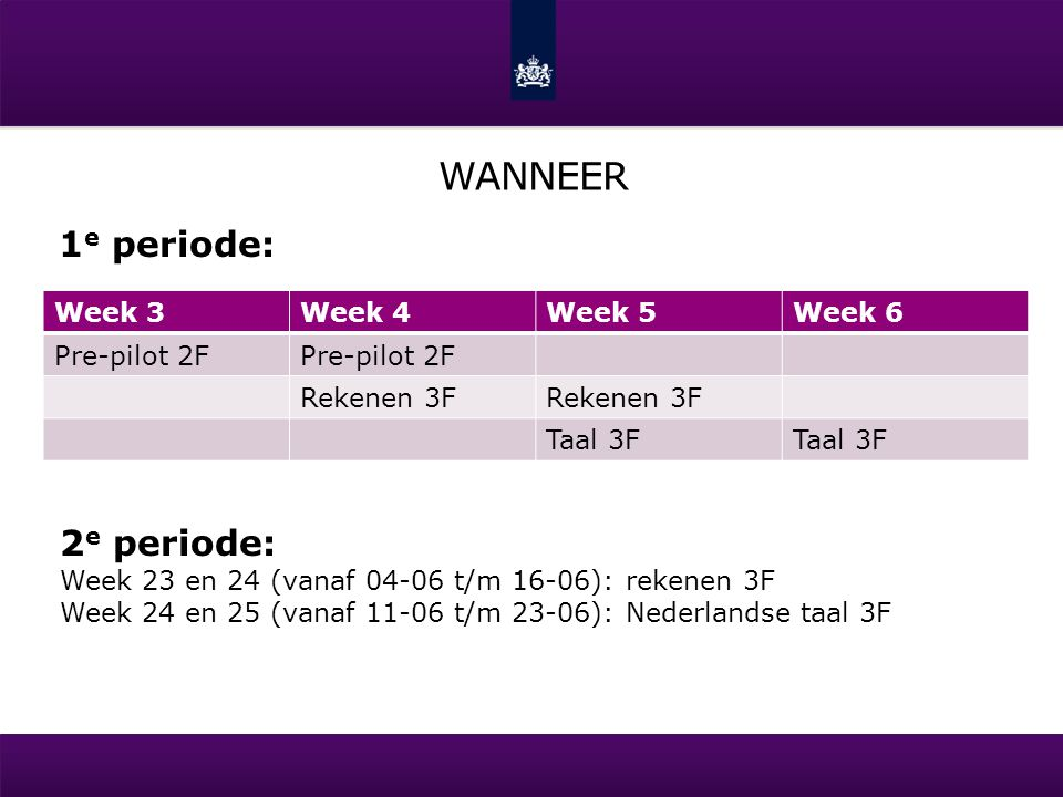 wanneer 1e periode: 2e periode: Week 3 Week 4 Week 5 Week 6