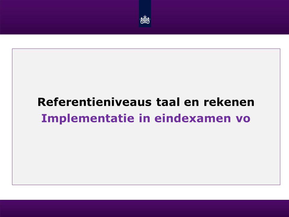 Referentieniveaus taal en rekenen Implementatie in eindexamen vo