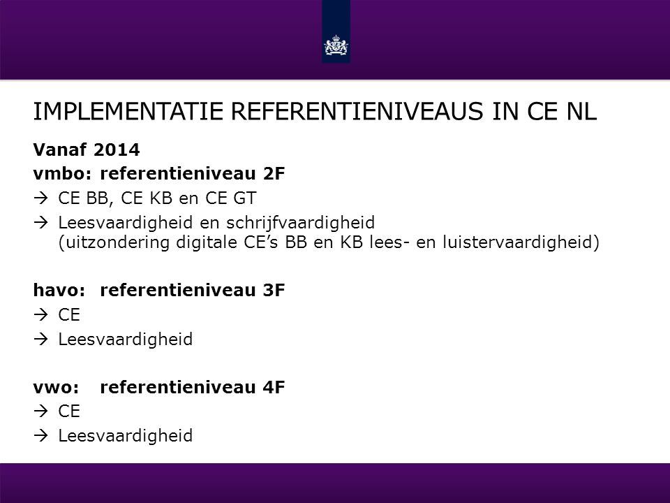 Implementatie Referentieniveaus in CE NL