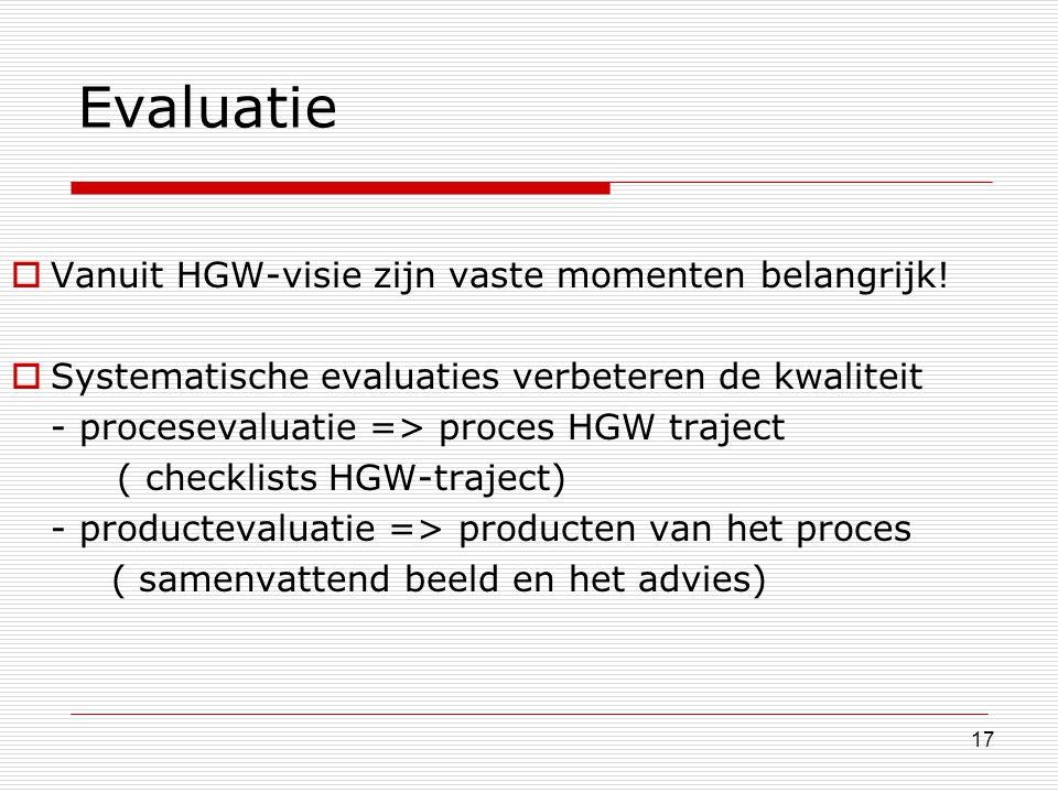 Evaluatie Vanuit HGW-visie zijn vaste momenten belangrijk!