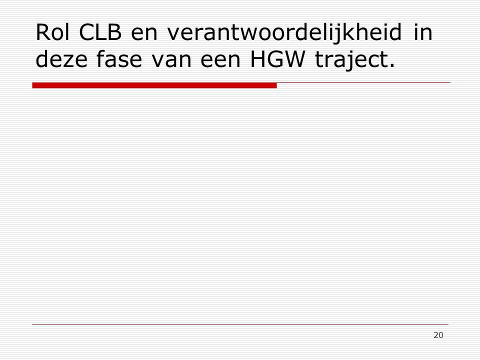 Rol CLB en verantwoordelijkheid in deze fase van een HGW traject.