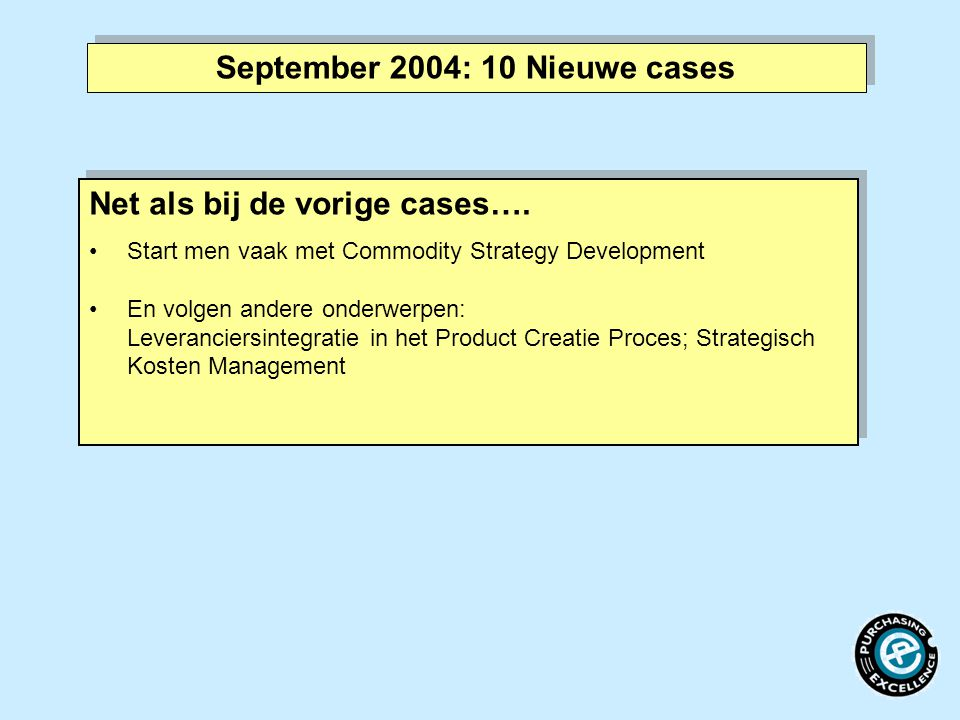 September 2004: 10 Nieuwe cases