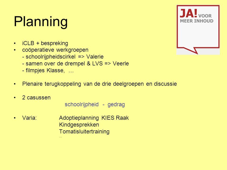 Planning iCLB + bespreking coöperatieve werkgroepen