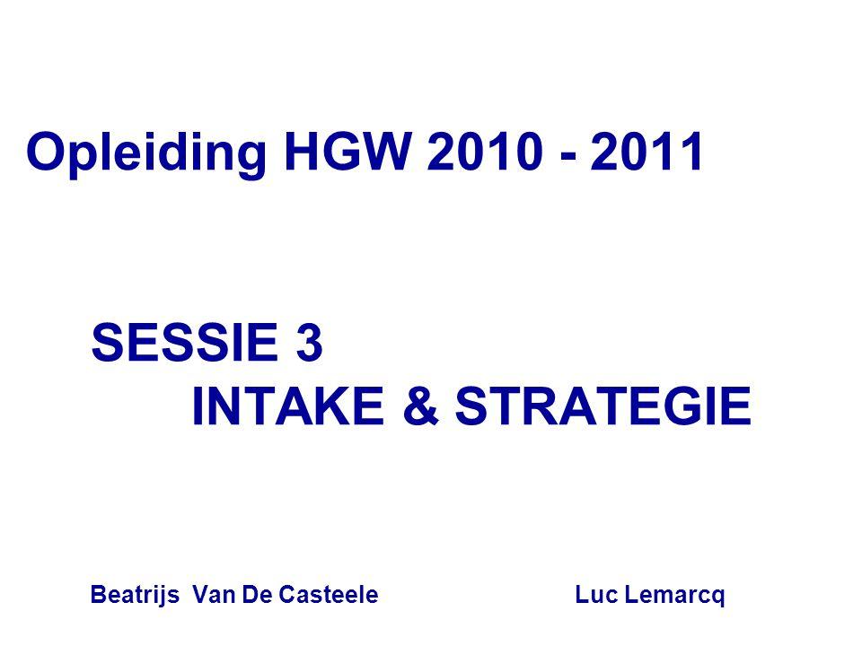 SESSIE 3 INTAKE & STRATEGIE Beatrijs Van De Casteele Luc Lemarcq