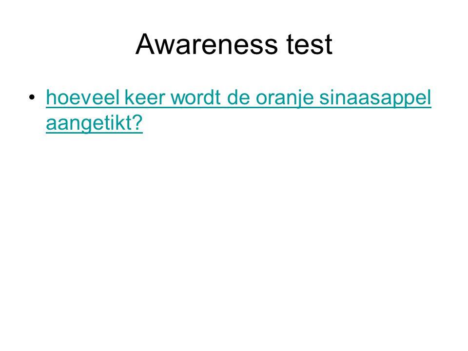 Awareness test hoeveel keer wordt de oranje sinaasappel aangetikt