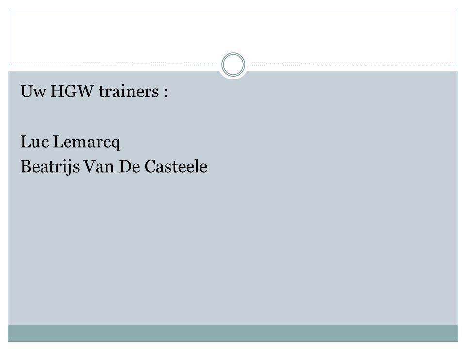 Uw HGW trainers : Luc Lemarcq Beatrijs Van De Casteele