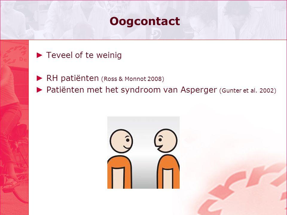 Oogcontact Teveel of te weinig RH patiënten (Ross & Monnot 2008)