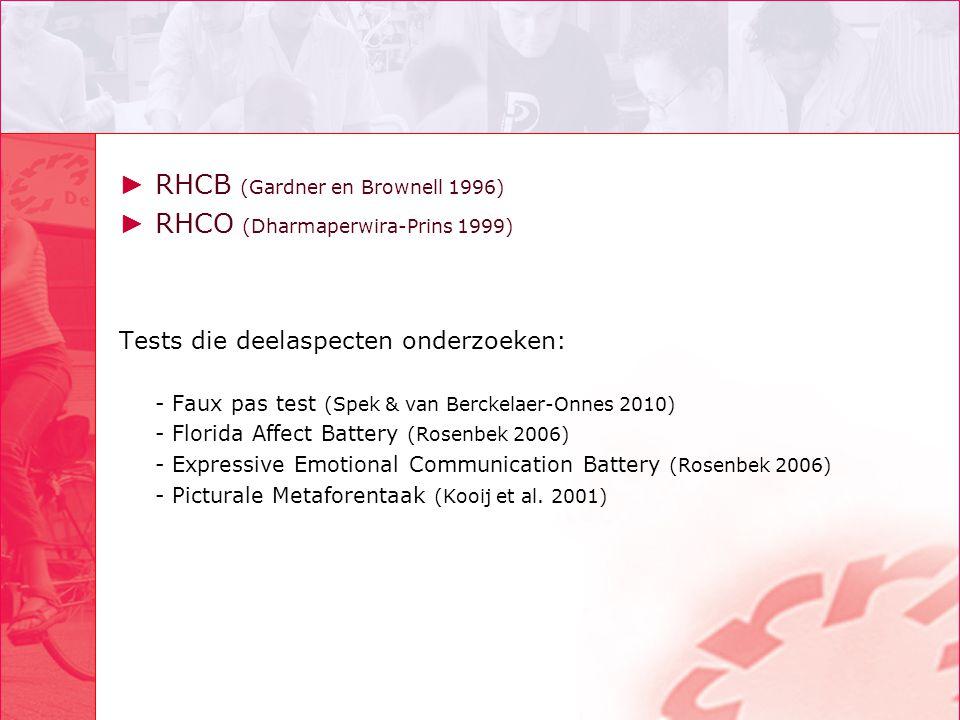 RHCB (Gardner en Brownell 1996) RHCO (Dharmaperwira-Prins 1999)