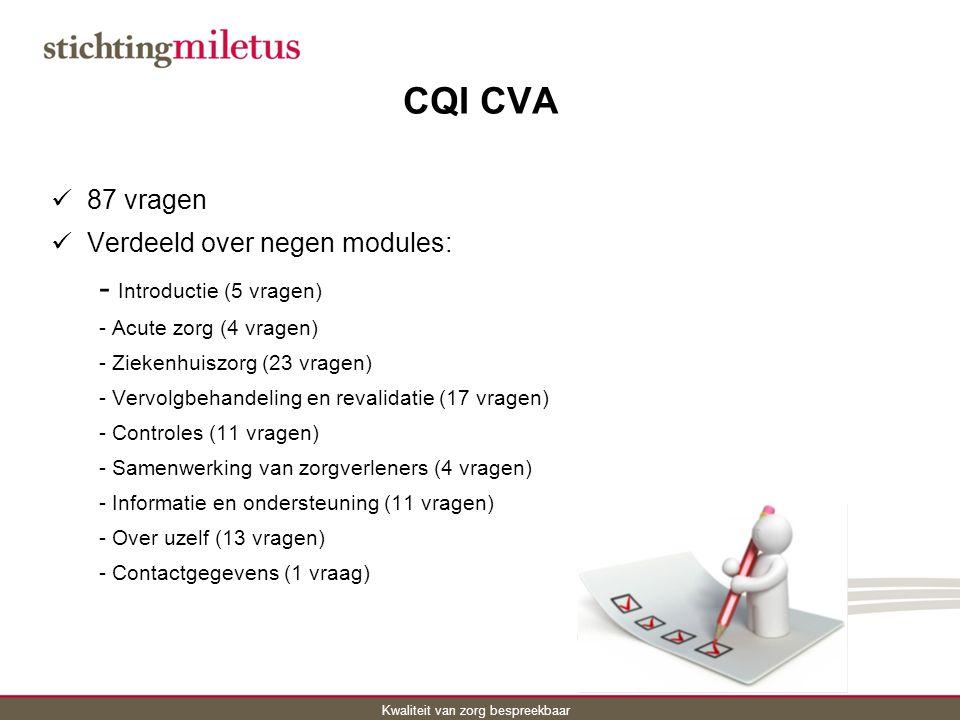 CQI CVA - Introductie (5 vragen) 87 vragen
