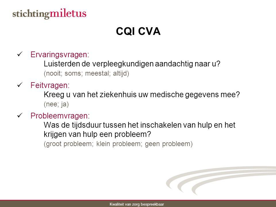 CQI CVA Ervaringsvragen: Luisterden de verpleegkundigen aandachtig naar u (nooit; soms; meestal; altijd)