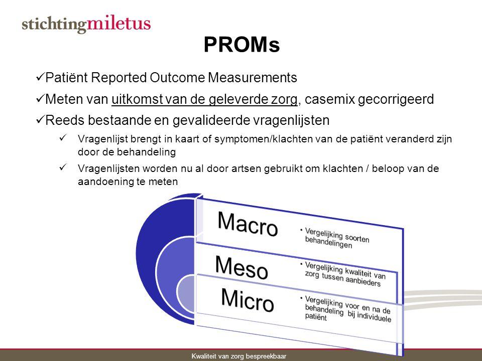 Macro Meso Micro PROMs Patiënt Reported Outcome Measurements