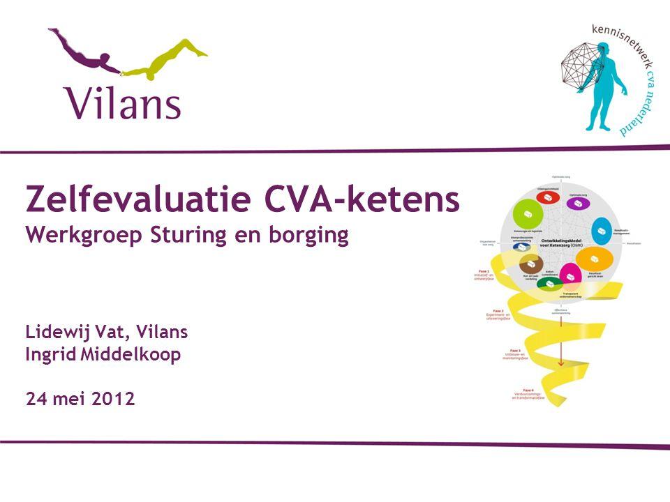 Zelfevaluatie CVA-ketens Werkgroep Sturing en borging Lidewij Vat, Vilans Ingrid Middelkoop 24 mei 2012