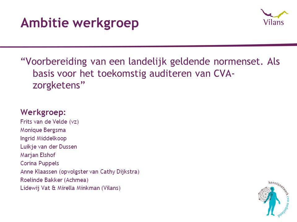 Ambitie werkgroep Voorbereiding van een landelijk geldende normenset. Als basis voor het toekomstig auditeren van CVA-zorgketens