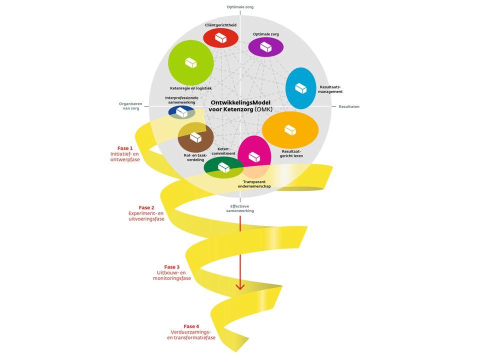 Samen vormen de elementen, clusters en fasen het Ontwikkelingsmodel voor Ketenzorg