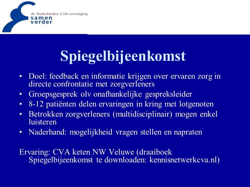 Spiegelbijeenkomst Doel: feedback en informatie krijgen over ervaren zorg in directe confrontatie met zorgverleners.