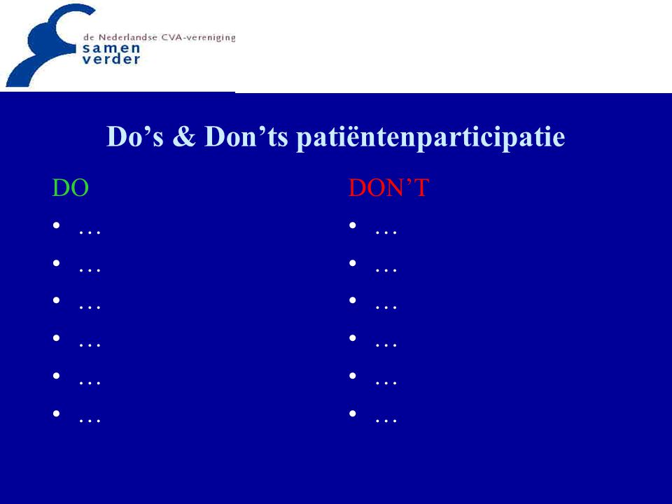 Do's & Don'ts patiëntenparticipatie