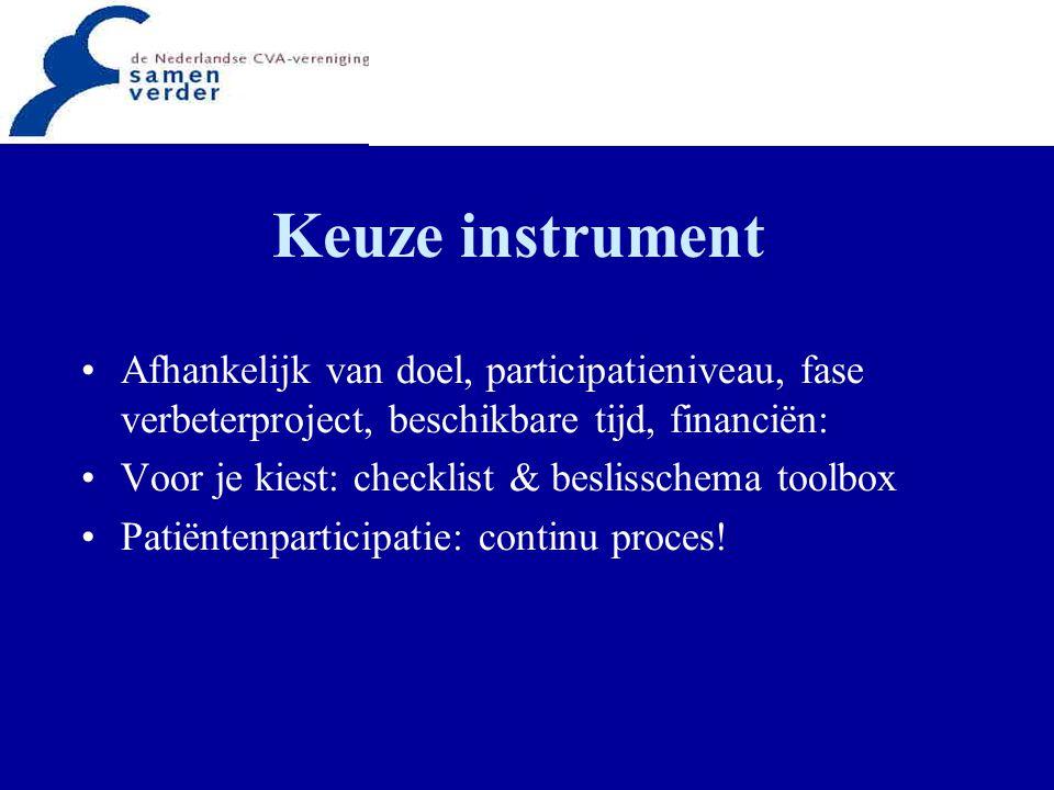 Keuze instrument Afhankelijk van doel, participatieniveau, fase verbeterproject, beschikbare tijd, financiën: