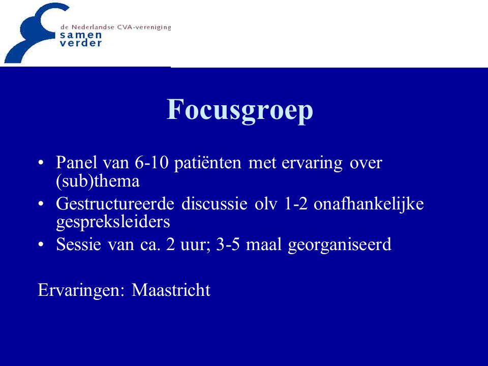 Focusgroep Panel van 6-10 patiënten met ervaring over (sub)thema