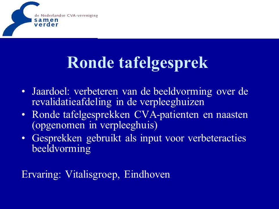 Ronde tafelgesprek Jaardoel: verbeteren van de beeldvorming over de revalidatieafdeling in de verpleeghuizen.