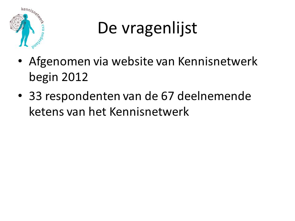 De vragenlijst Afgenomen via website van Kennisnetwerk begin 2012