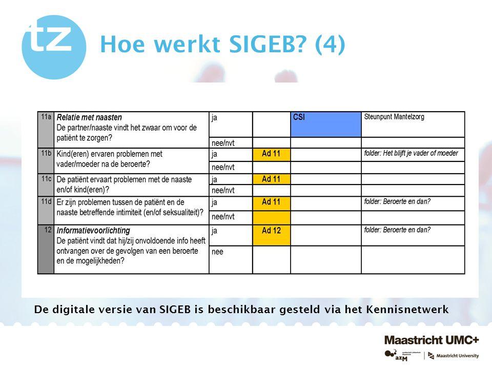 Hoe werkt SIGEB (4) De digitale versie van SIGEB is beschikbaar gesteld via het Kennisnetwerk