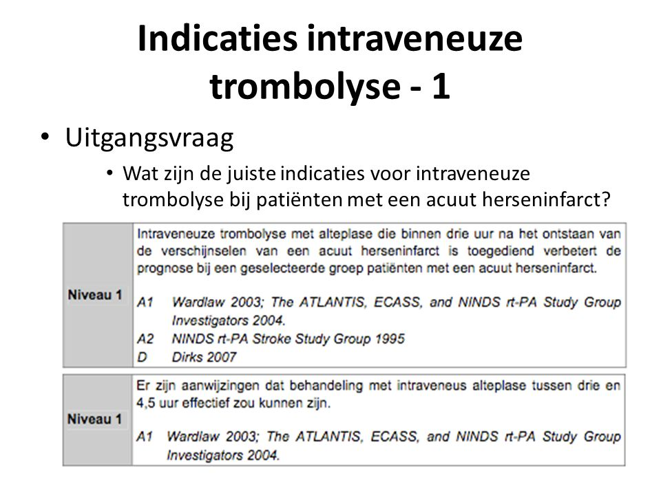 Indicaties intraveneuze trombolyse - 1